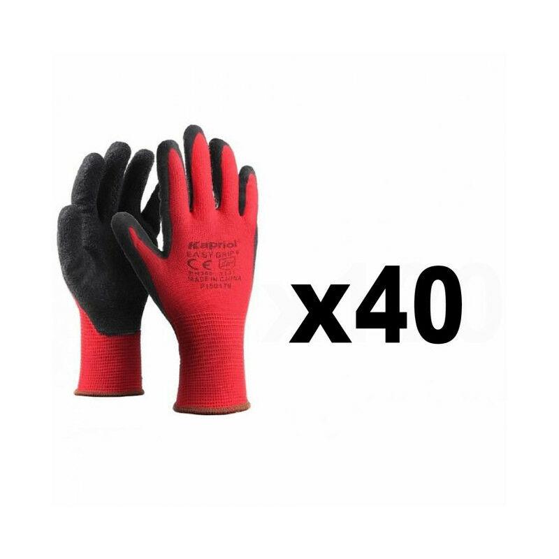 KAPRIOL 40 Paires de gants de protection manutention générale SMART GRIP rouge KAPRIOL