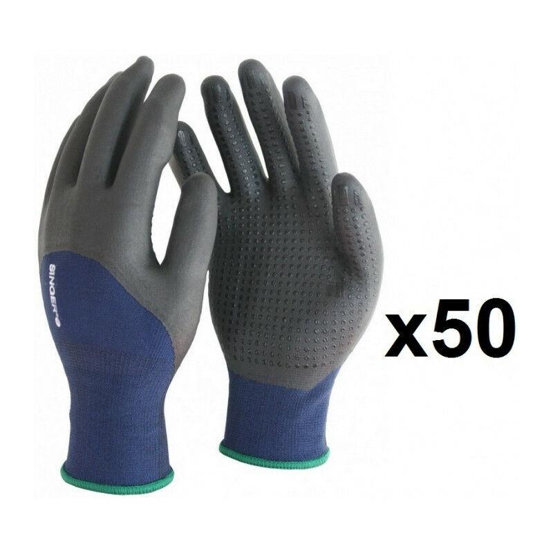 SINGER 50 paires de gants polyester élastanne 3/4 enduit nitrile avec picots PER134