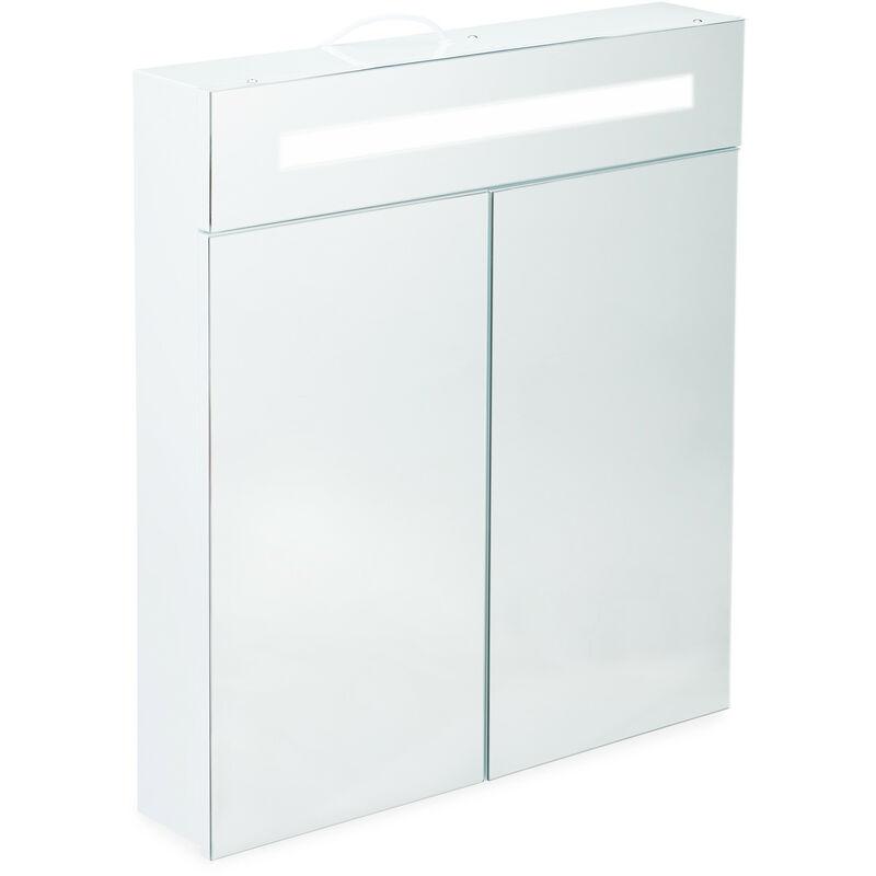 RELAXDAYS Armoire de toilette à LED, Meuble salle de bains, 2 portes, Placard mural