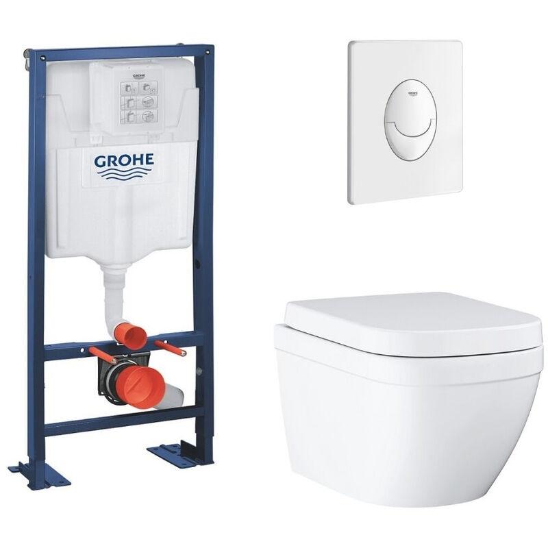GROHE - Lot wc suspendu sans bride caréné Euro Ceramic bâti support Grohe Rapid
