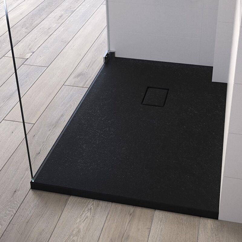 KINEDO Receveur de douche recoupable Kinesurf Pietra, 120 x 90, noir - Noir - Kinedo
