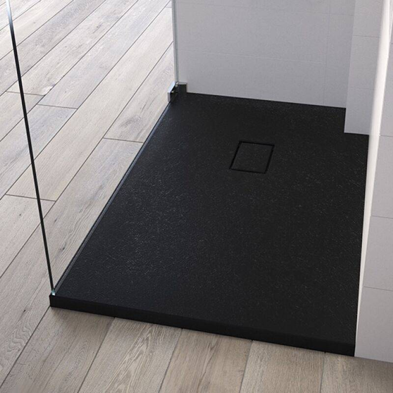 Kinedo - Receveur de douche recoupable Kinesurf Pietra, 140 x 100, noir - Noir