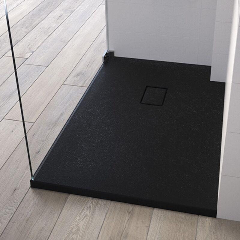 KINEDO Receveur de douche recoupable Kinesurf Pietra, 160 x 100, noir - Noir - Kinedo