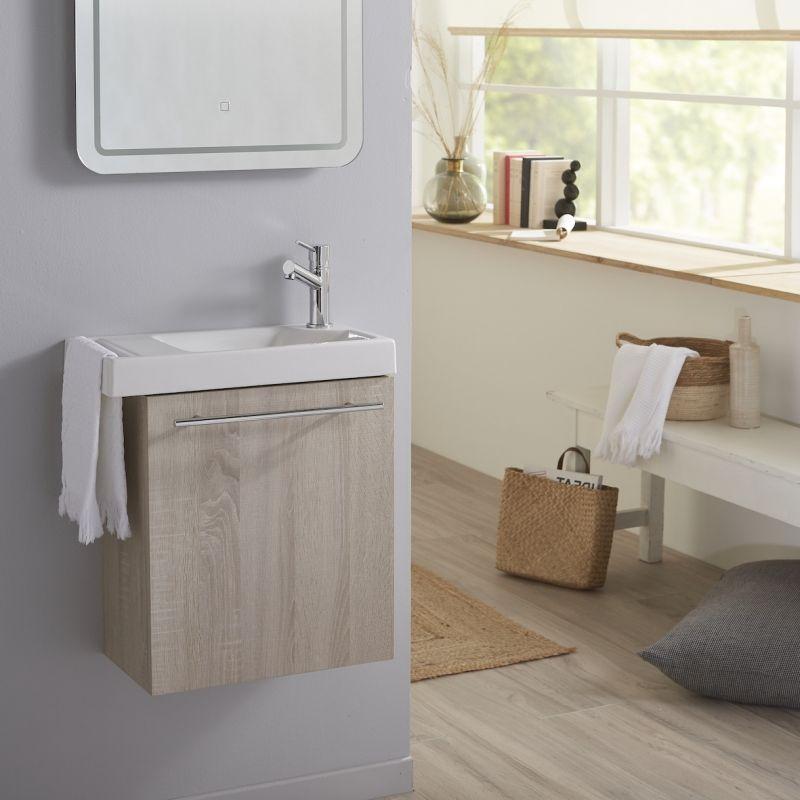 Planetebain Lave mains couleur chêne caledonia pour wc avec robinet eau froide à droite