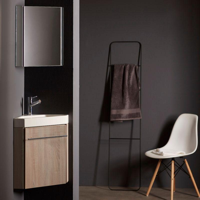 Planetebain Lave-mains d'angle en solid surface avec meuble complet couleur chêne