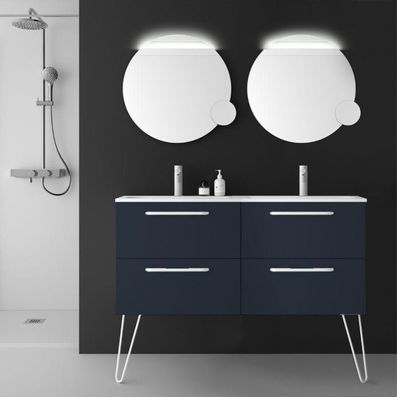 Planetebain - Meuble de salle de bain 120 cm couleur bleu nuit à suspendre
