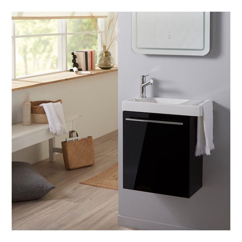 Planetebain Pack meuble lave mains noir + Lave mains avec porte serviette + robinetterie