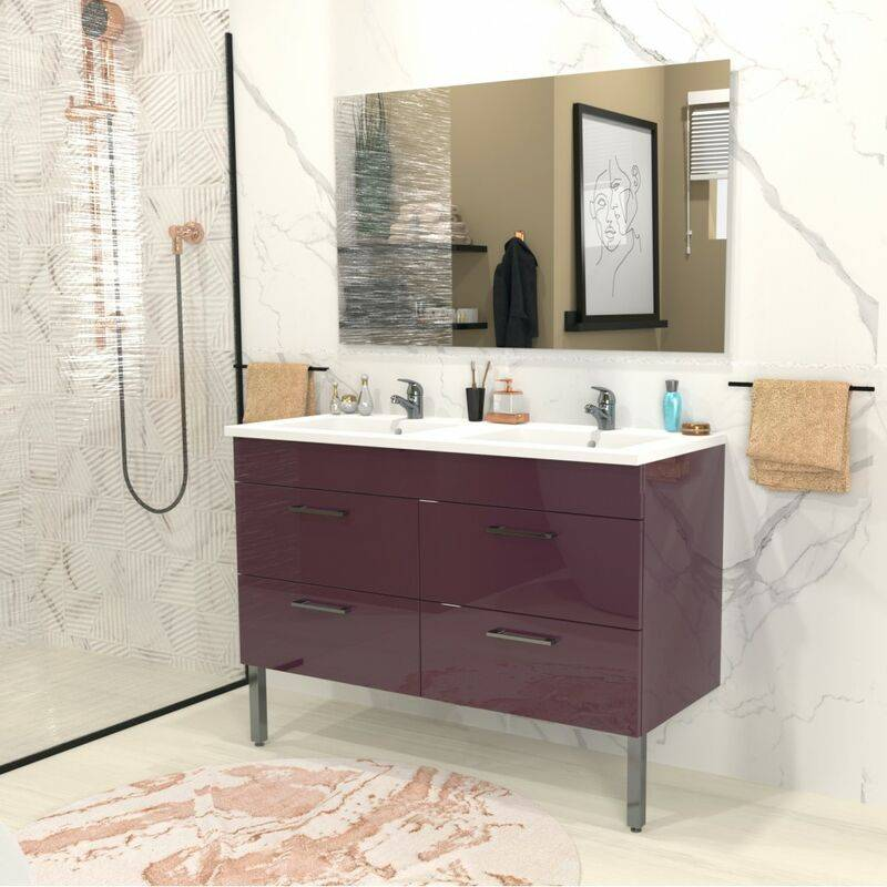 LE QUAI DES AFFAIRES Ensemble meuble sous-vasque + vasque résine +2 armoires miroir MILANO /