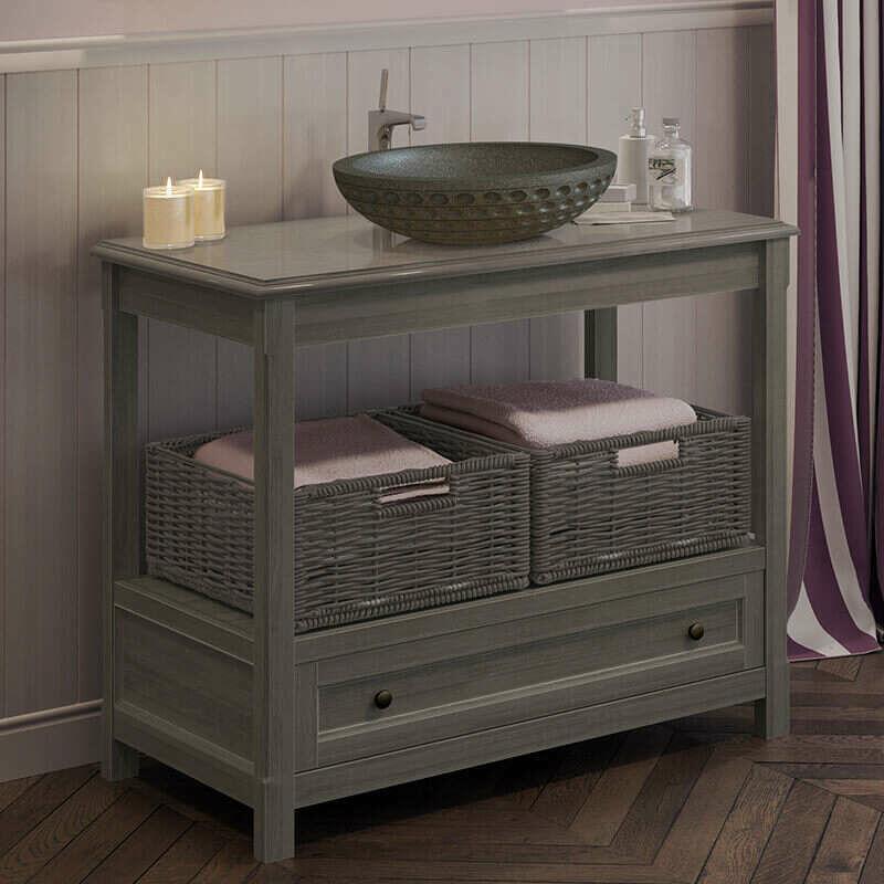 BYCA Table grise sous vasque 100 cm avec plan, 1 tiroir, 2 paniers - Boho