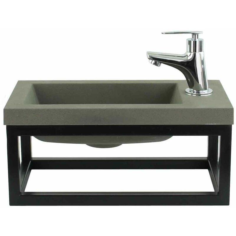 BADPLAATS Toilette Meuble Salle de Bain Mesa 40x22 cm Vert - Lavabo Armoire Toilette
