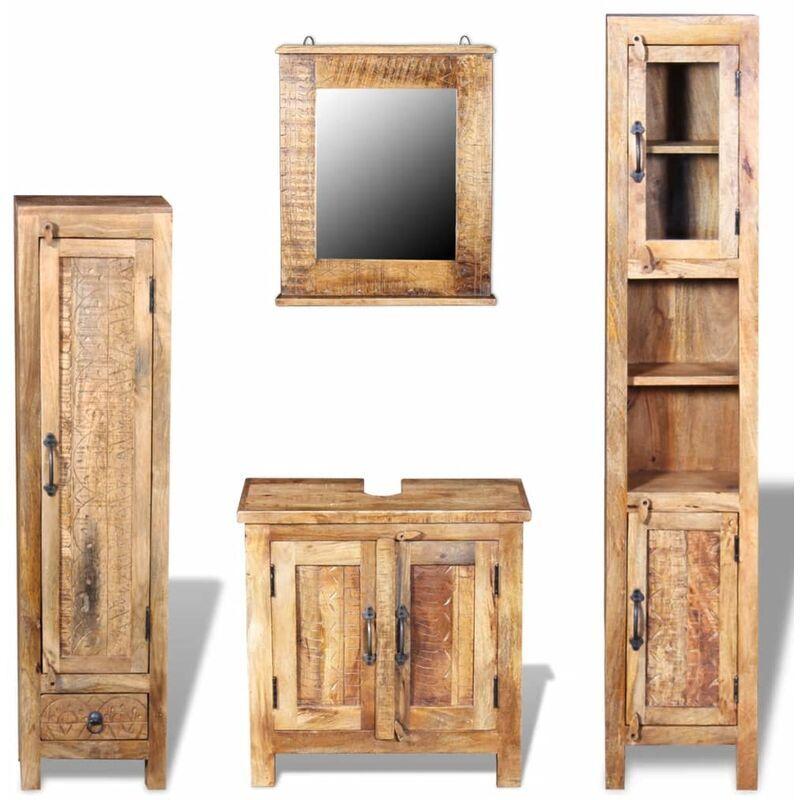 VIDAXL Meuble toilette+miroir et 2 armoires latérales Bois de manguier