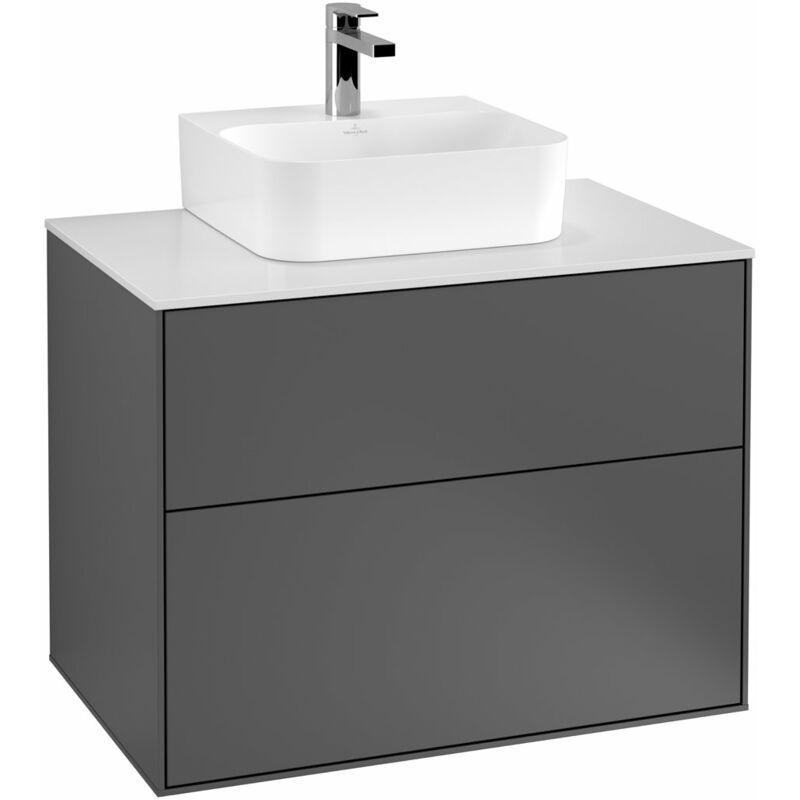 VILLEROY UND BOCH Finion Meuble sous-lavabo F08200, 800x603x501mm, plaque de recouvrement Noir