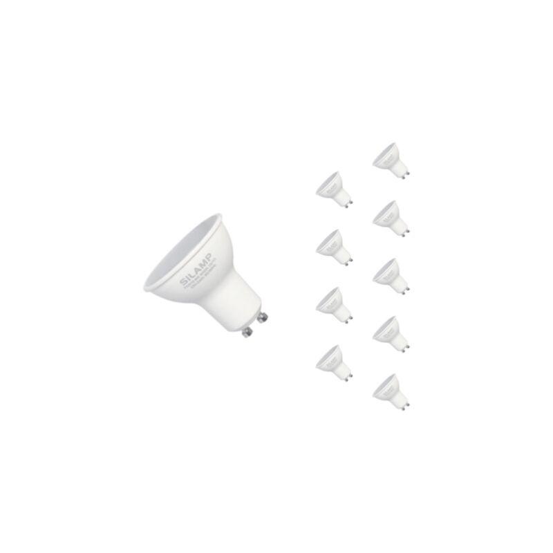 SILAMP Ampoule LED GU10 6W 220V SMD2835 PAR16 10LED 90° (Pack de 10) - Blanc Froid