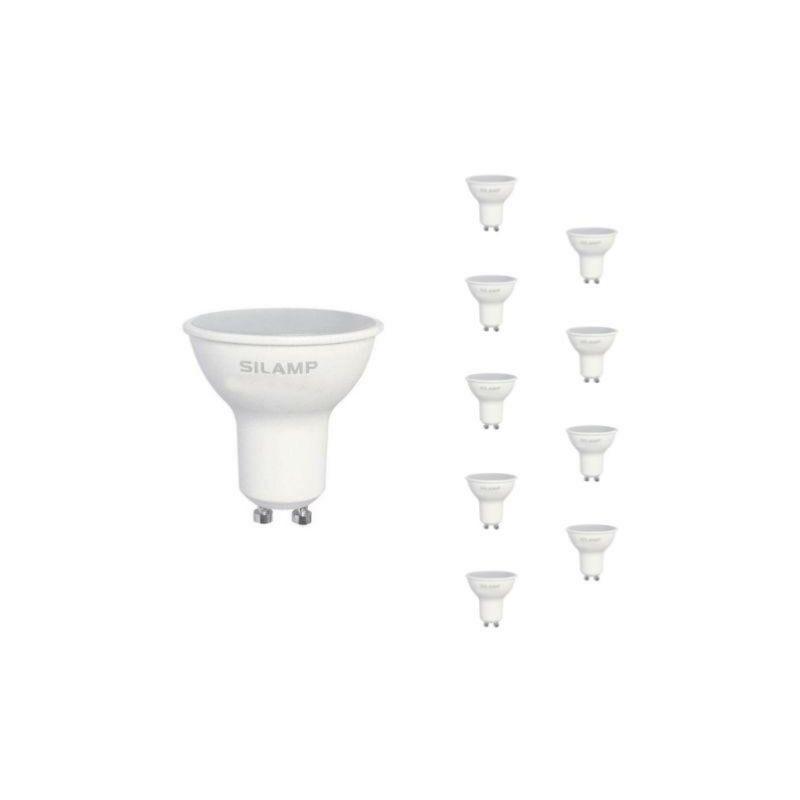 SILAMP Ampoule LED GU10 8W 220V (Pack de 10) - Blanc Neutre 4000K - 5500K