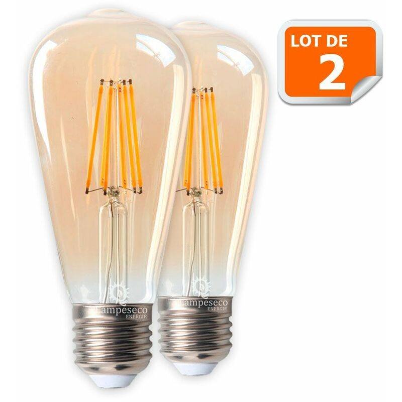 LAMPESECOENERGIE Lot de 2 Ampoules LED Style Vintage Teardrop ST64 doré 8 watt (eq.60 watt)
