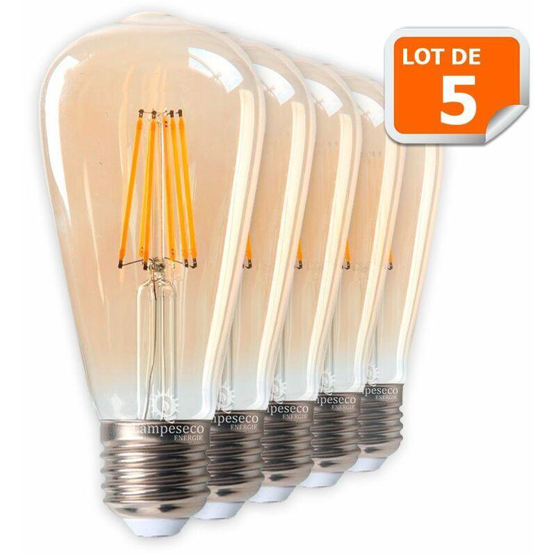 Lampesecoenergie - Lot de 5 Ampoules LED Style Vintage Teardrop ST64 doré 8