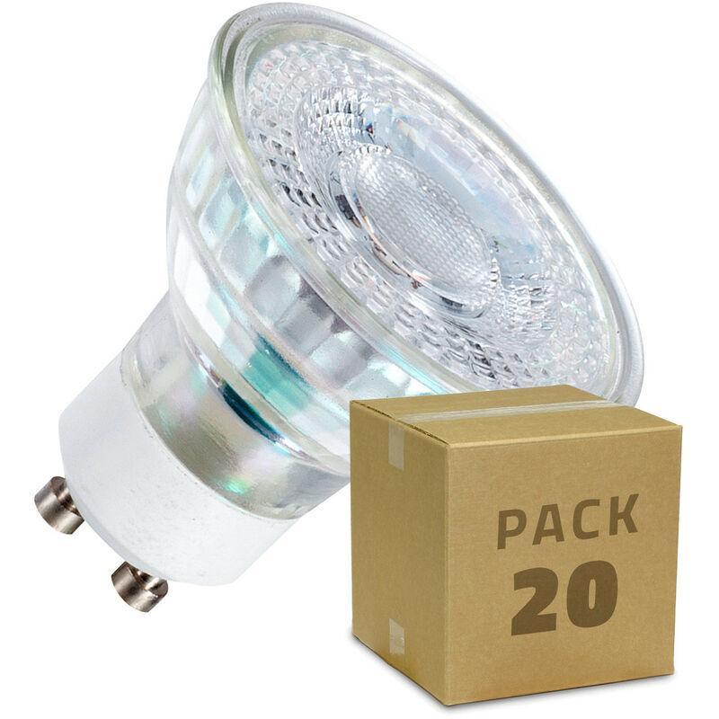 LEDKIA Pack Ampoules LED GU10 SMD Cristal 38º 5W (20 Un) Blanc Chaud 3000K - Blanc