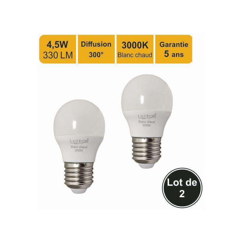 LUTECE-ARC Lot de 2 ampoules LEDE27 4W (equiv. 30W) 330Lm 3000K - garantie 5 ans