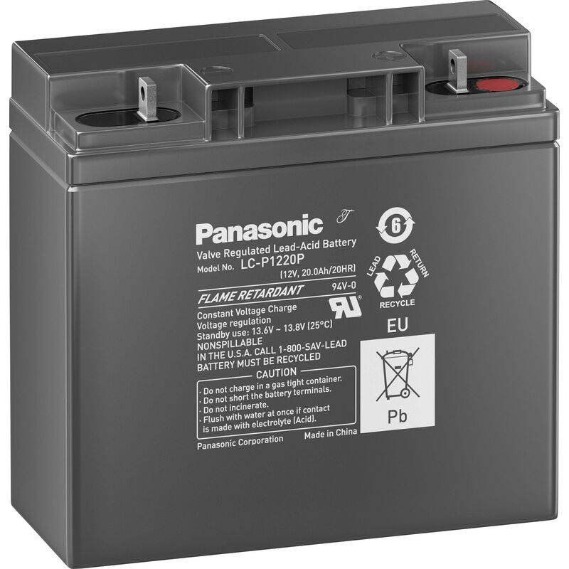PANASONIC Batterie au plomb 12 V 20 Ah Panasonic sans entretien, auto-décharge réduite