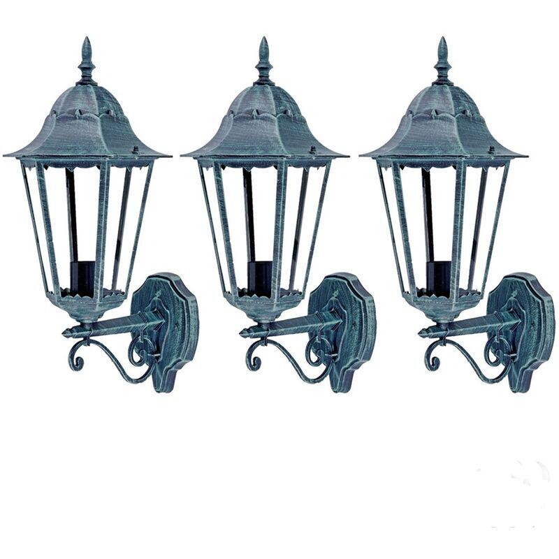 ETC-SHOP Ensemble de 3 LED lampes d'extérieur façades maison porte lanternes jardin ALU