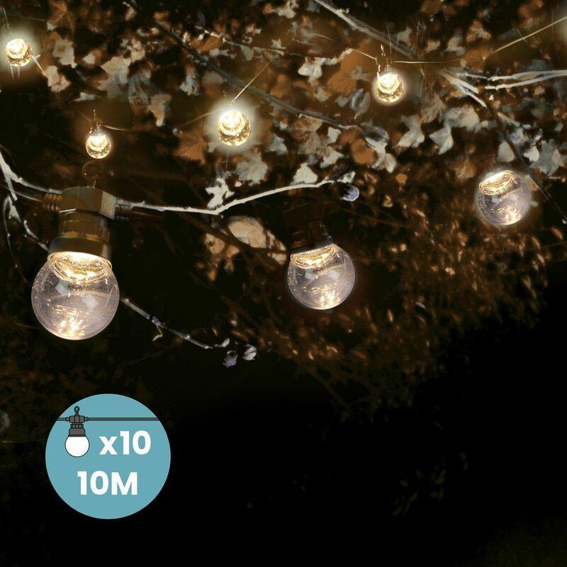 SKYLANTERN Guirlande Guinguette 10M Transparent- Guirlande Electrique Exterieur 10 Bulbes
