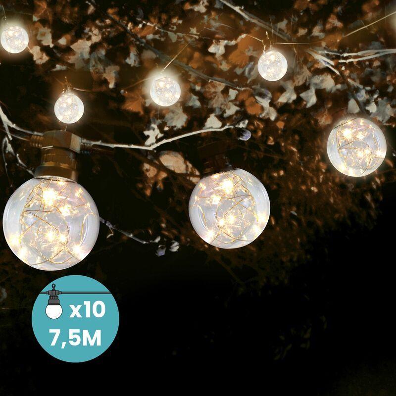 Skylantern - Guirlande Guinguette 10M 10 bulbes à MicroLed avec Rallonge de 3M