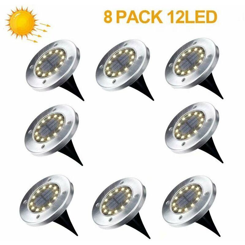 LANGRAY Lampe Solaire Exterieur Jardin 8 Pack 12 LED Projecteur Solaire En Plein Air