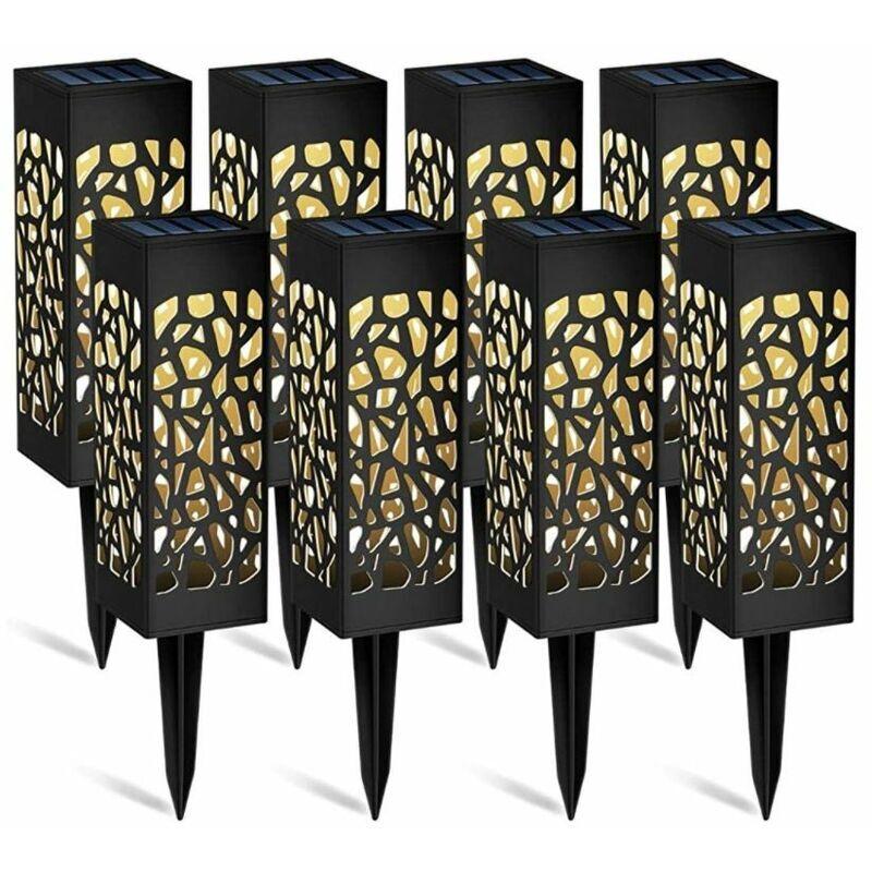 PERLE RARE Lampe Solaire Jardin, 8 Pièces Éclairage Solaire Extérieur de Jardin, Étanche