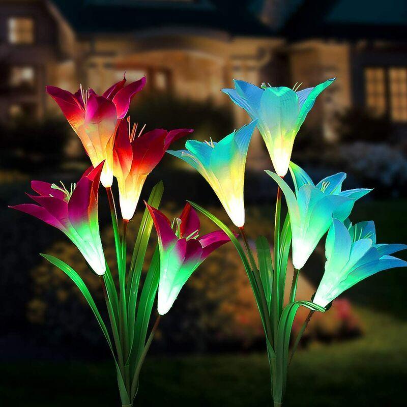 LangRay Extérieur Lampes solaires de Jardin 8 Lily Fleur Multicolore Changer