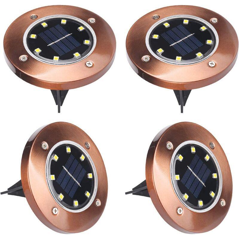 LANGRAY Lampe Solaire Jardin, 8 LED 4 Packs Lumière LED Solaire Extérieur Étanche LED