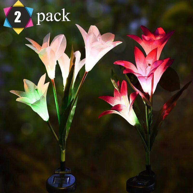 PERLE RARE Lanternes de lys solaires lanternes de simulation LED colorées lumières de