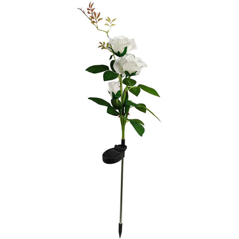 ASUPERMALL Led Solaire 3 Tetes Rose Fleur Lampe Exterieure Villa Jardin Plug-In Lampe