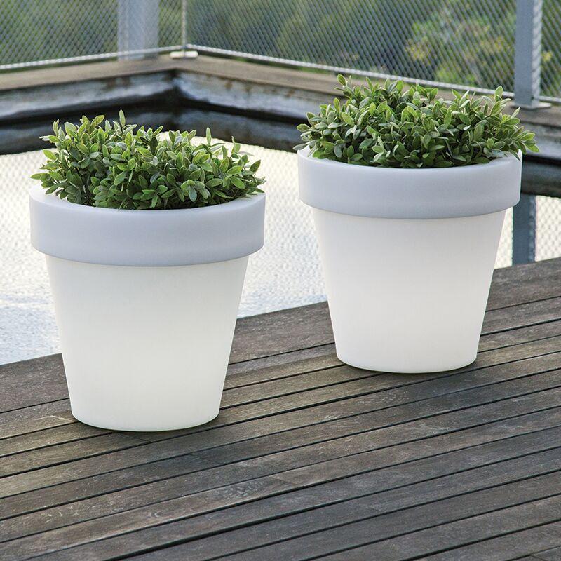 MOOVERE Pot de fleurs lumineux 90 Solaire+Batterie rechargeable - Moovere