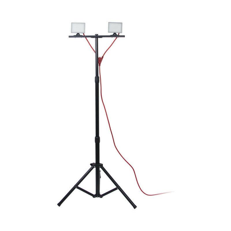 XANLITE - Projecteur de Chantier LED sur Pied, Filaire, x2 Têtes, 10 W, 1600