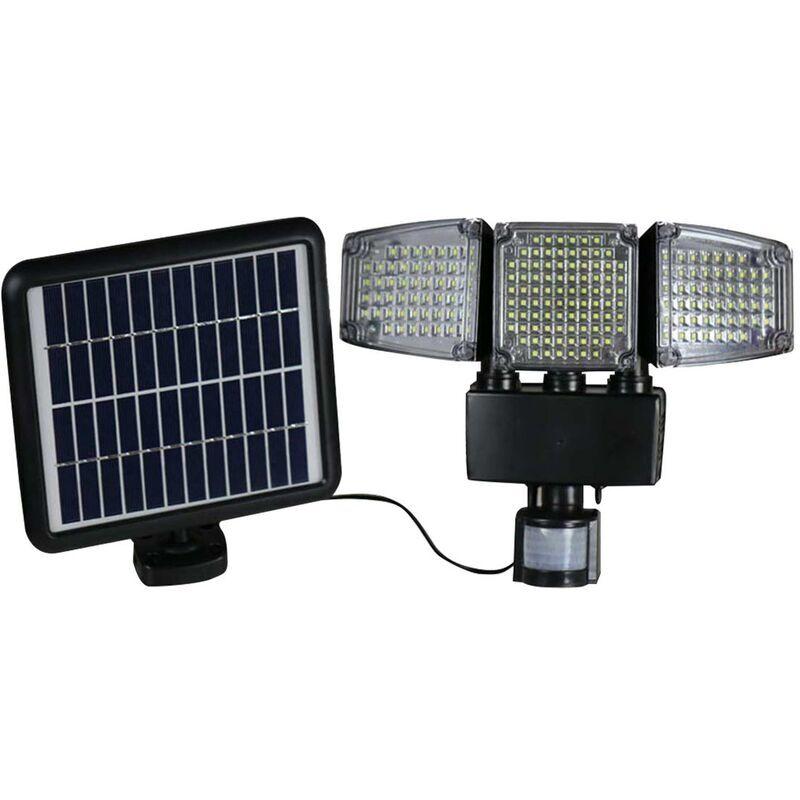 Lumi Jardin - Projecteur solaire 3 têtes noir eclairage puissant panneau