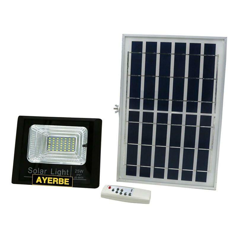 AYERBE Projecteur solaire télécommandé 25W 36Leds 960Lm Noir Ayerbe