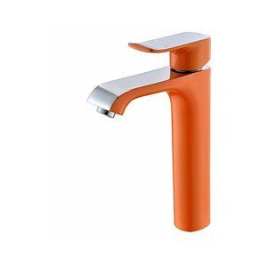 LOOKSHOP Robinet d'évier de style contemporain peint en orange, robinet à poignée unique - Publicité