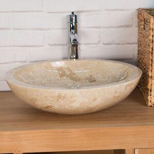 Wanda Collection - Vasque Ronde BARCELONE en marbre à poser colori crème - Publicité