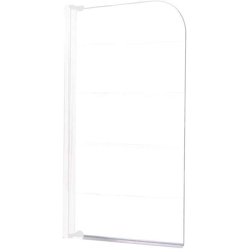 ONDEE Pare-baignoire MISSI 1V - Paroi 80x140x0,4cm - Verre trempé - Finition blanc