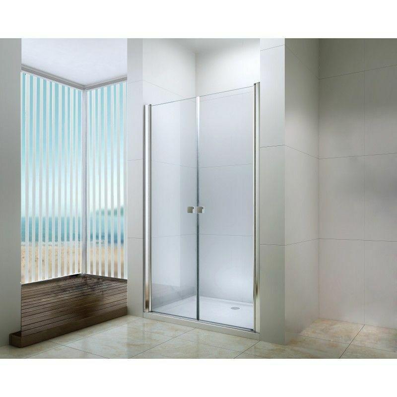 DEGEO Porte battante douche en verre trempé 90cm transparente Frisco - Transparent