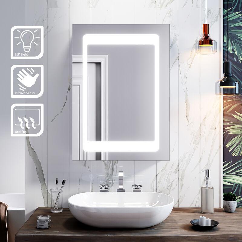 SIRHONA 43x 69cm Armoires Miroir de Salle de Bain avec éclairé LED Cadre en Acier Inox