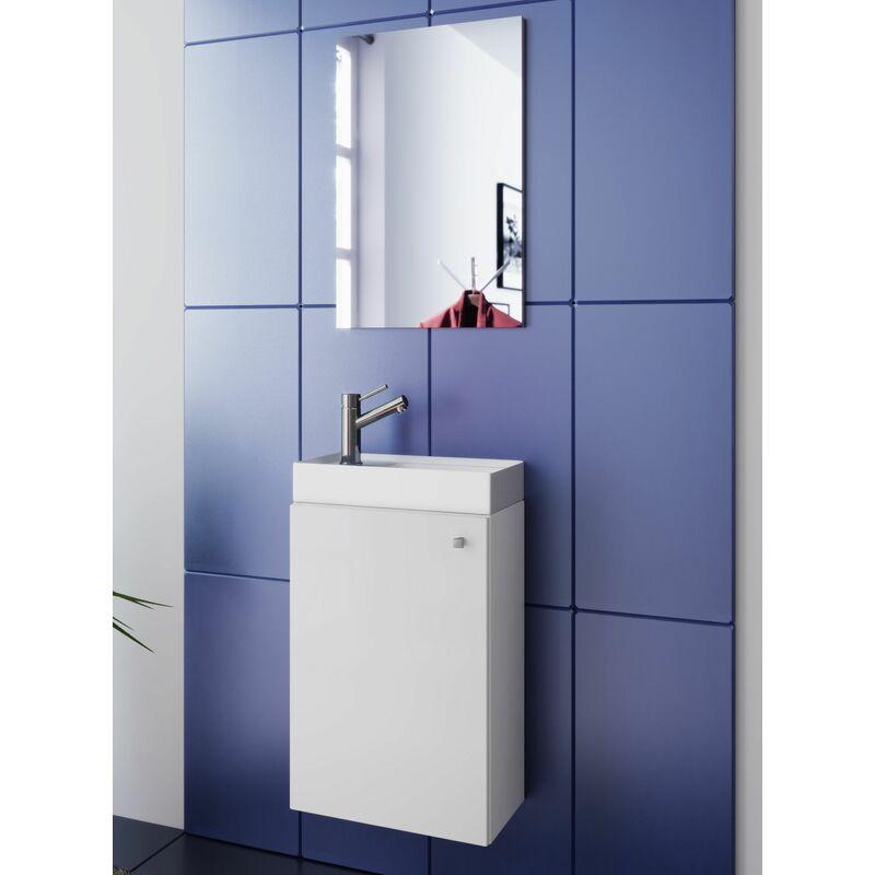 MERCATOXL bassin évier blanc avec armoire et WC miroir