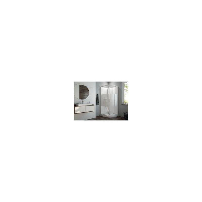 Leda - Cabine de douche IZI BOX 2 1/4 rond 90 cm portes coulissantes en verre
