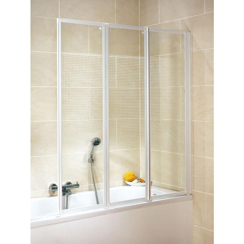 SCHULTE Pare-baignoire rabattable, 127 x 140 cm, paroi de baignoire 3 volets, écran de