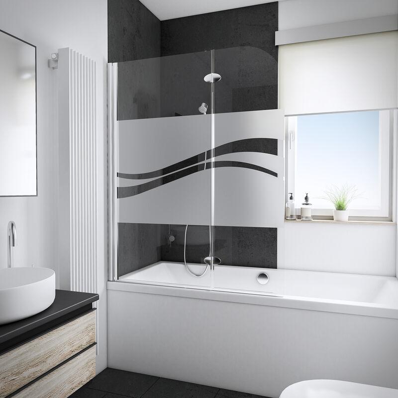 SCHULTE Pare-baignoire 112 x 140 cm, verre 5 mm, paroi de baignoire 2 volets, écran de