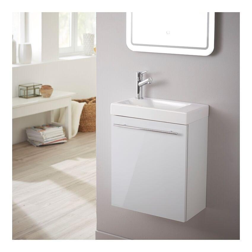 Planetebain Meuble lave-mains design blanc laqué pour WC