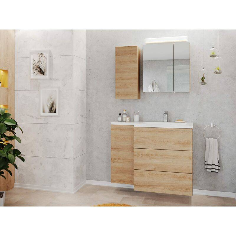 Emotion Ensemble meuble de SDB Adelia gauche avec armoire de toilette en décor chêne