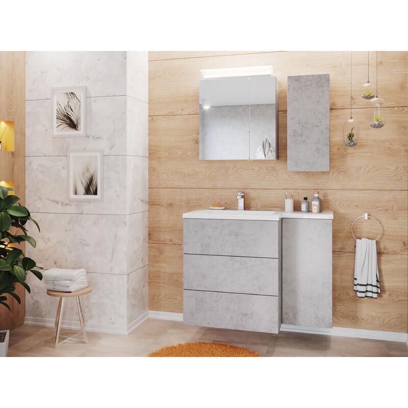 Emotion - Ensemble meuble de SDB Elisa droite avec armoire de toilette en