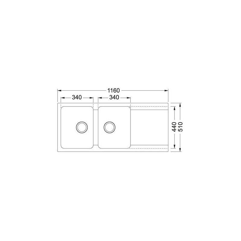 Franke - Evier ORION OID621 Carbone (sous meuble 80cm) 1160x510x190mm