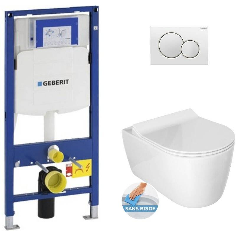 Geberit Pack WC Bâti-support avec Cuvette Idevit Alfa sans bride et fixations